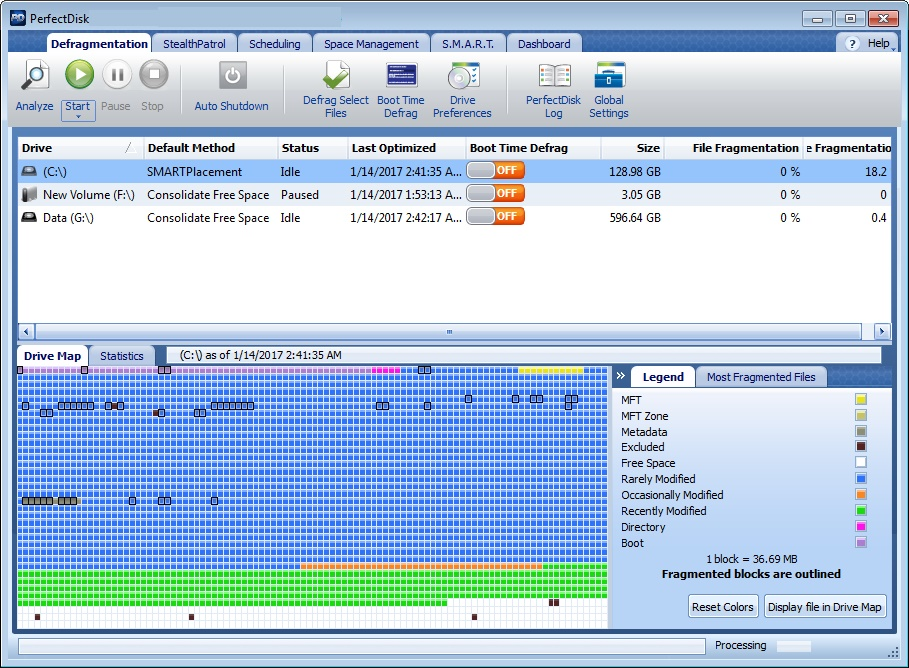 PerfectDisk defragmentation